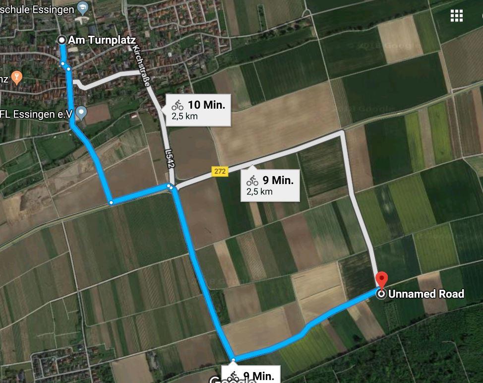 Wegbeschreibung vom Turnplatz zur Streuobstwiese